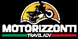 Motorizzonti. Viaggi in moto oltre l'orizzonte. Logo